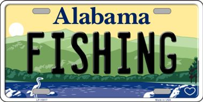 Fishing Alabama Background Novelty Metal License Plate