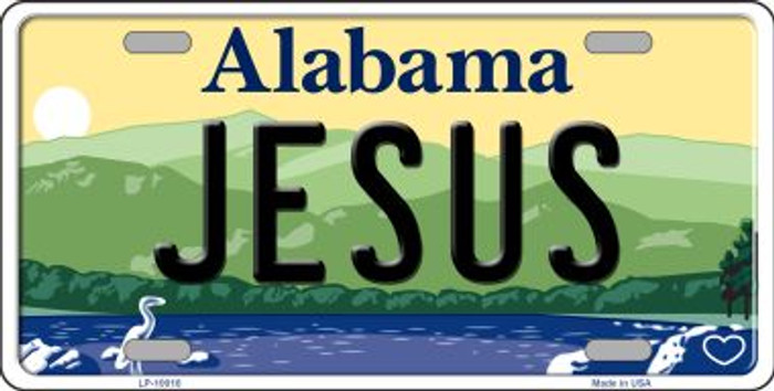 Jesus Alabama Background Novelty Metal License Plate