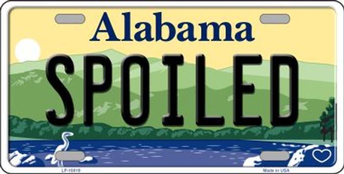 Spoiled Alabama Background Novelty Metal License Plate