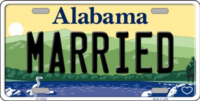 Married Alabama Background Novelty Metal License Plate