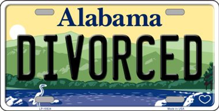 Divorced Alabama Background Novelty Metal License Plate