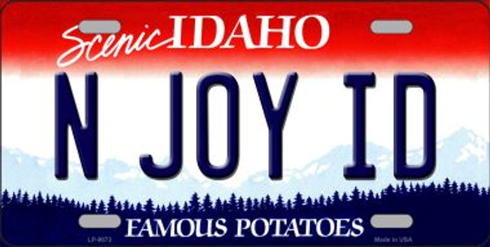 N Joy ID Idaho Background Novelty Metal License Plate