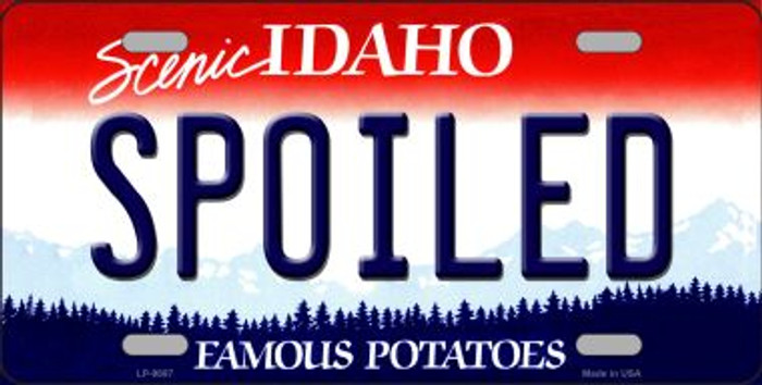 Spoiled Idaho Background Novelty Metal License Plate