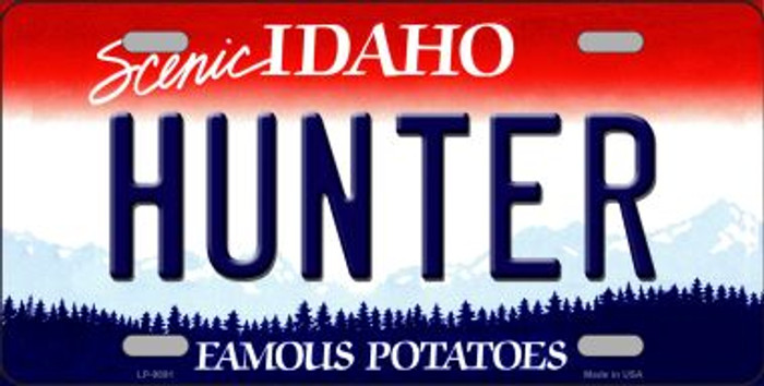 Hunter Idaho Background Novelty Metal License Plate