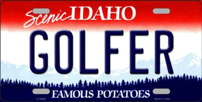 Golfer Idaho Background Novelty Metal License Plate