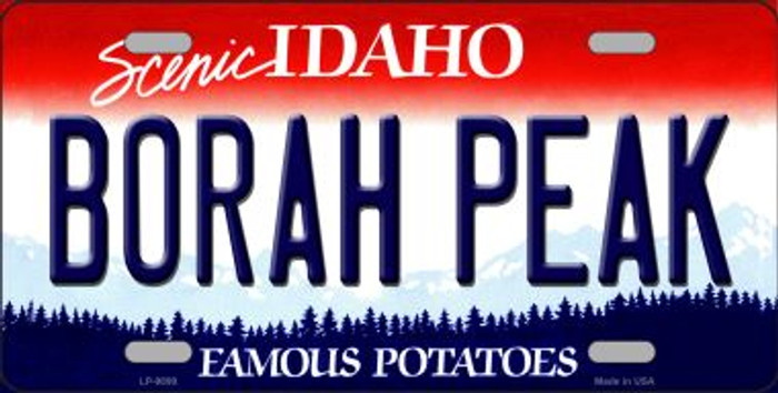 Borah Peak Idaho Background Novelty Metal License Plate
