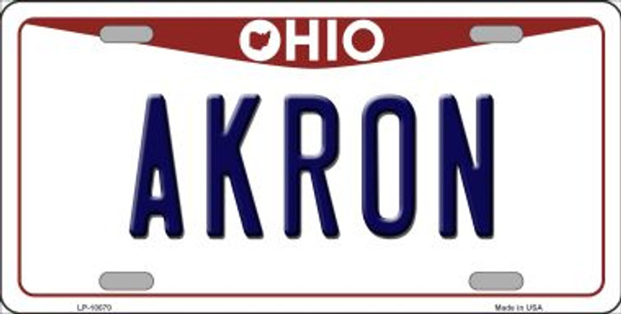 Akron Ohio Background Novelty Metal License Plate