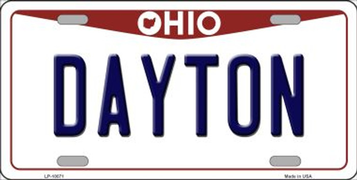 Dayton Ohio Background Novelty Metal License Plate