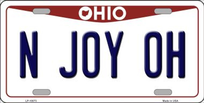 N Joy OH Ohio Background Novelty Metal License Plate
