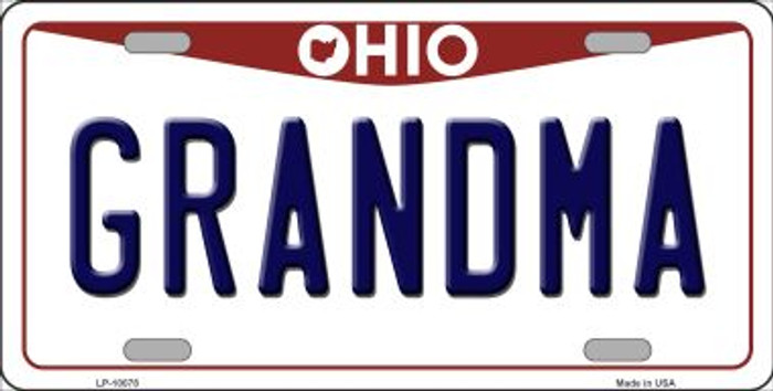 Grandma Ohio Background Novelty Metal License Plate