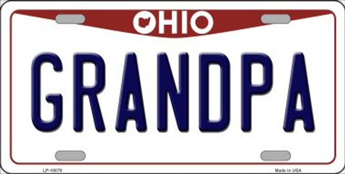 Grandpa Ohio Background Novelty Metal License Plate