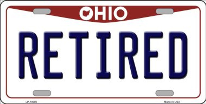 Retired Ohio Background Novelty Metal License Plate