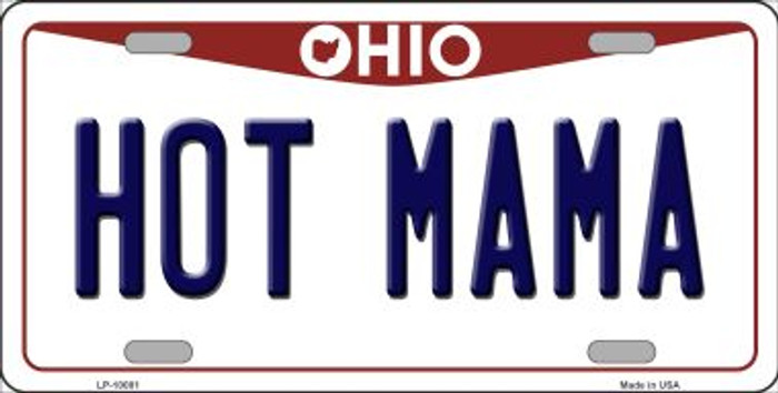 Hot Mama Ohio Background Novelty Metal License Plate