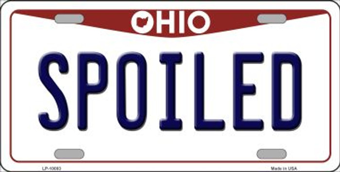Spoiled Ohio Background Novelty Metal License Plate