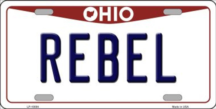 Rebel Ohio Background Novelty Metal License Plate