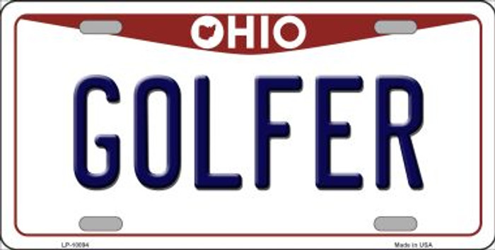 Golfer Ohio Background Novelty Metal License Plate