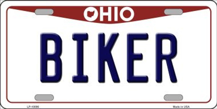 Biker Ohio Background Novelty Metal License Plate