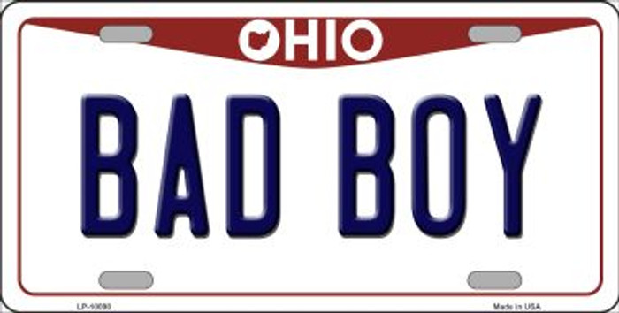 Bad Boy Ohio Background Novelty Metal License Plate
