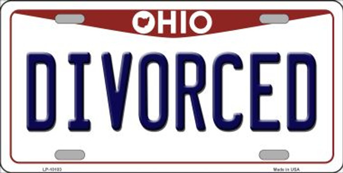 Divorced Ohio Background Novelty Metal License Plate