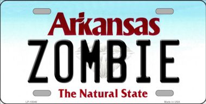 Zombie Arkansas Background Novelty Metal License Plate