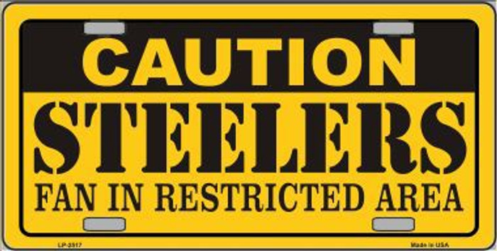 Caution Steelers Metal Novelty License Plate