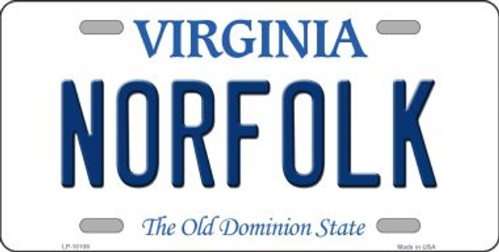 Norfolk Virginia Background Novelty Metal License Plate