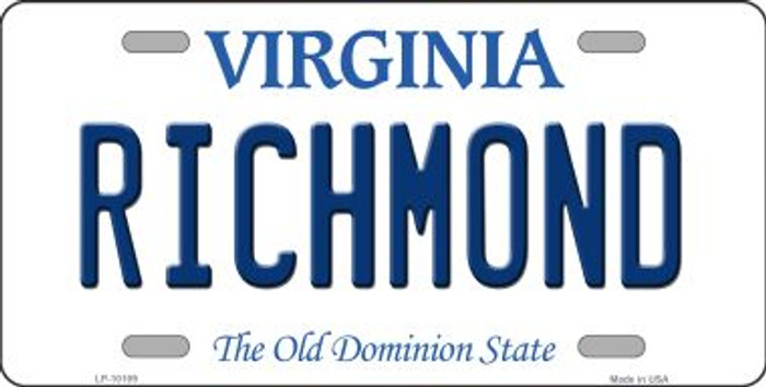 Richmond Virginia Background Novelty Metal License Plate