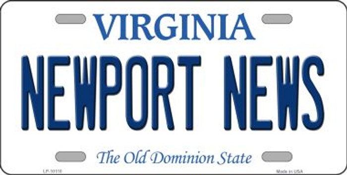 Newport News Virginia Background Novelty Metal License Plate