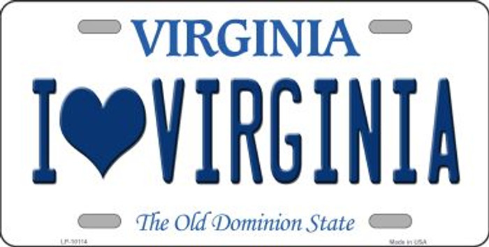 I Love Virginia Background Novelty Metal License Plate