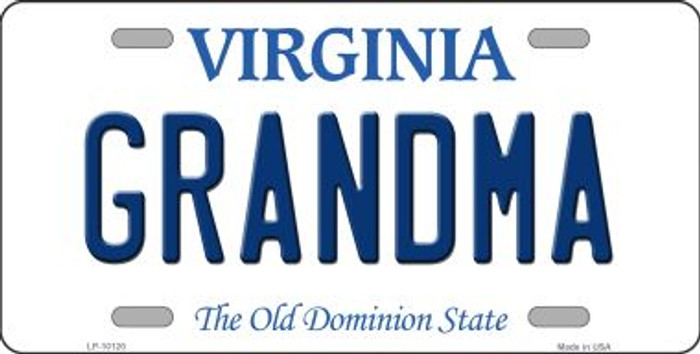 Grandma Virginia Background Novelty Metal License Plate