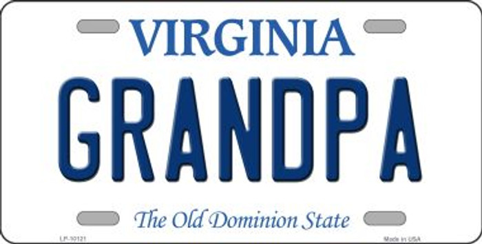 Grandpa Virginia Background Novelty Metal License Plate