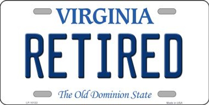 Retired Virginia Background Novelty Metal License Plate