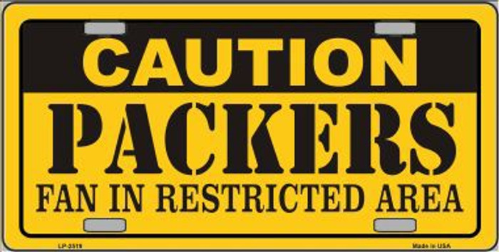 Caution Packers Metal Novelty License Plate