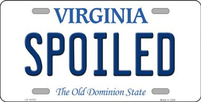 Spoiled Virginia Background Novelty Metal License Plate