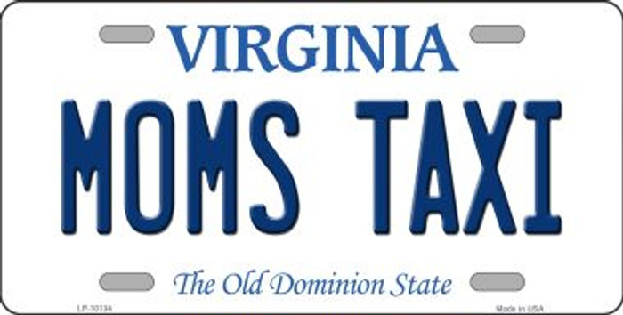 Moms Taxi Virginia Background Novelty Metal License Plate