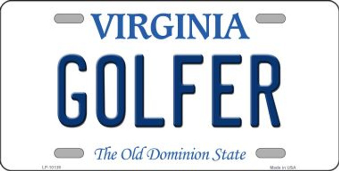 Golfer Virginia Background Novelty Metal License Plate