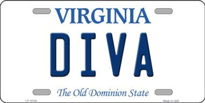 Diva Virginia Background Novelty Metal License Plate