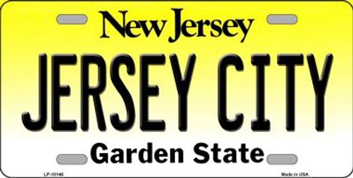 Jersey City New Jersey Background Novelty Metal License Plate
