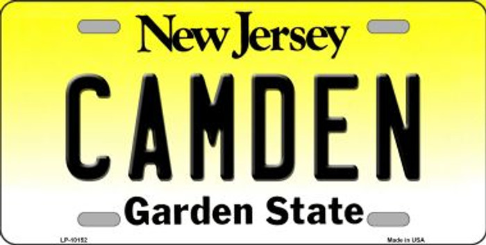 Camden New Jersey Background Novelty Metal License Plate