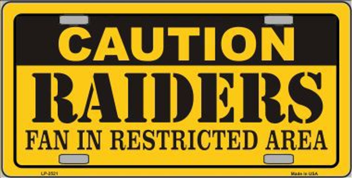 Caution Raiders Metal Novelty License Plate