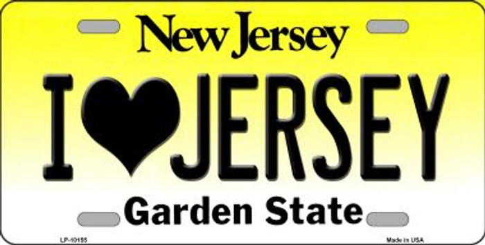 I Love Jersey New Jersey Background Novelty Metal License Plate