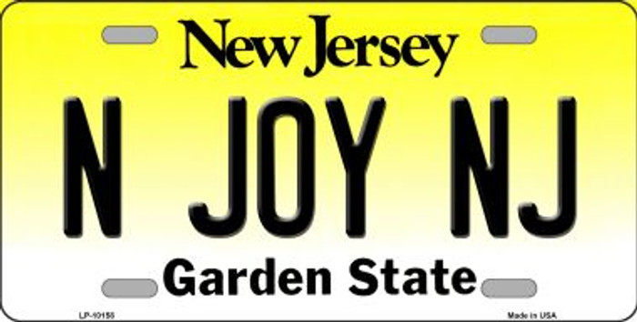 N Joy NJ New Jersey Background Novelty Metal License Plate