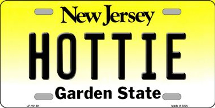 Hottie New Jersey Background Novelty Metal License Plate