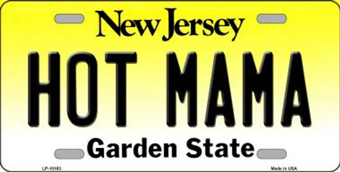 Hot Mama New Jersey Background Novelty Metal License Plate