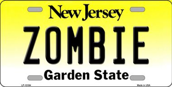 Zombie New Jersey Background Novelty Metal License Plate