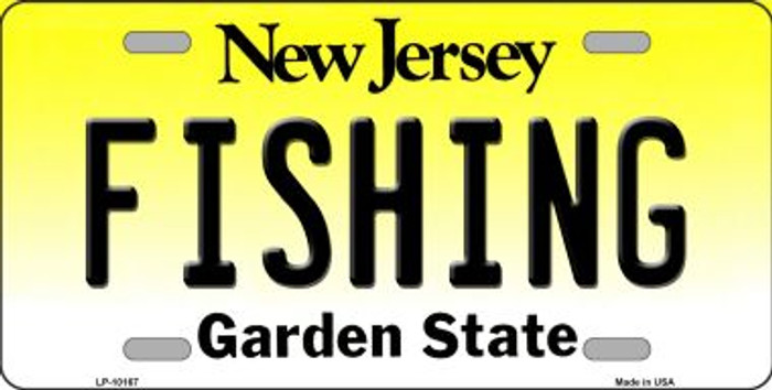 Fishing New Jersey Background Novelty Metal License Plate