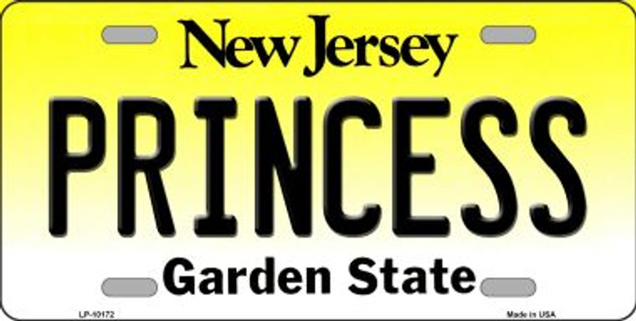 Princess New Jersey Background Novelty Metal License Plate