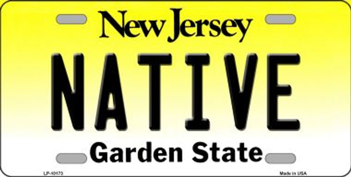 Native New Jersey Background Novelty Metal License Plate