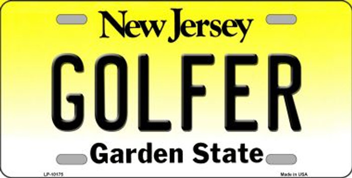 Golfer New Jersey Background Novelty Metal License Plate