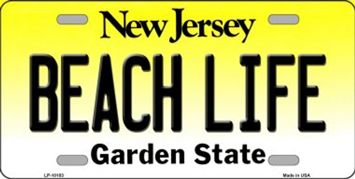 Beach Life New Jersey Background Novelty Metal License Plate